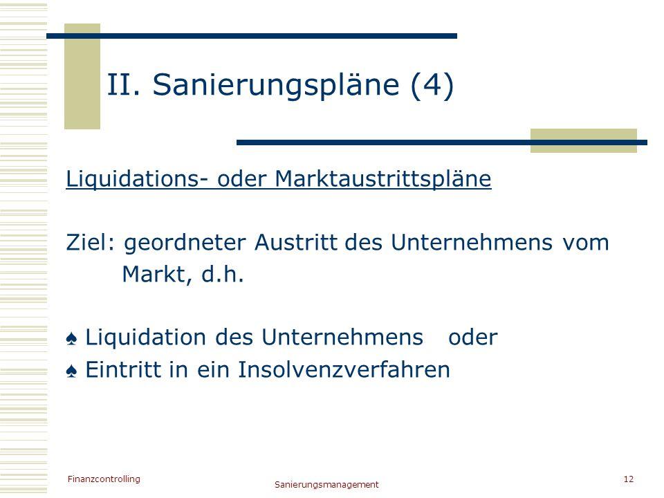 II. Sanierungspläne (4) Liquidations- oder Marktaustrittspläne