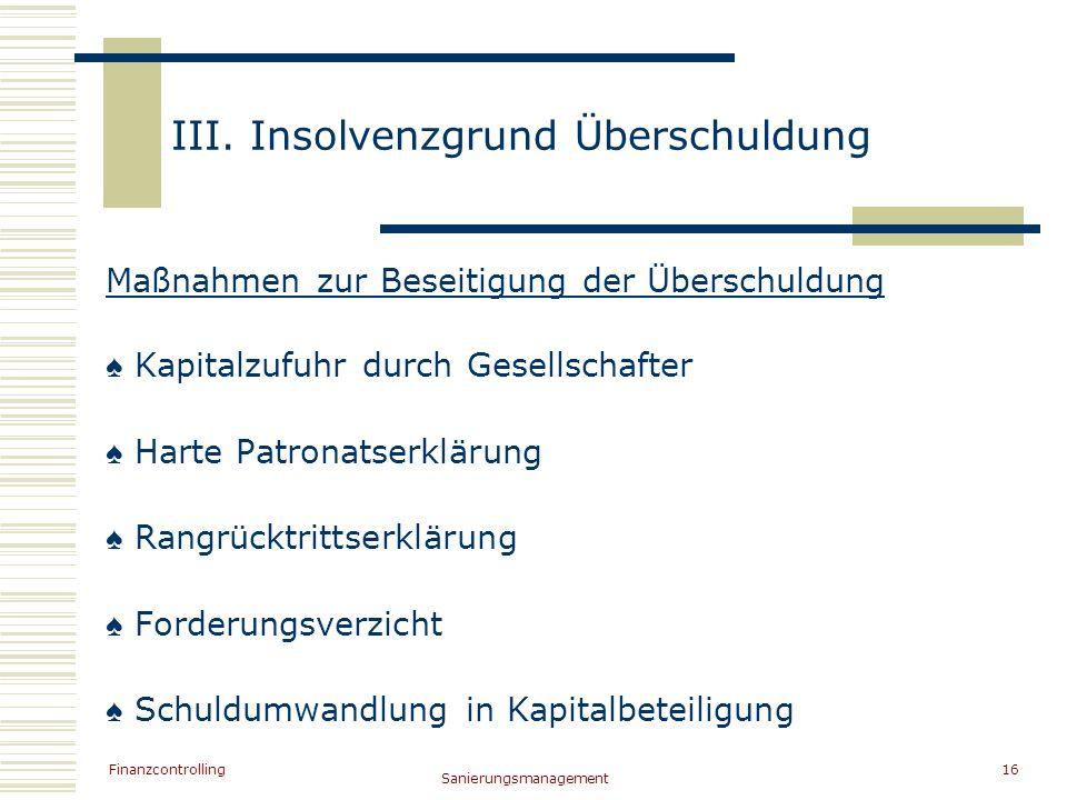 III. Insolvenzgrund Überschuldung