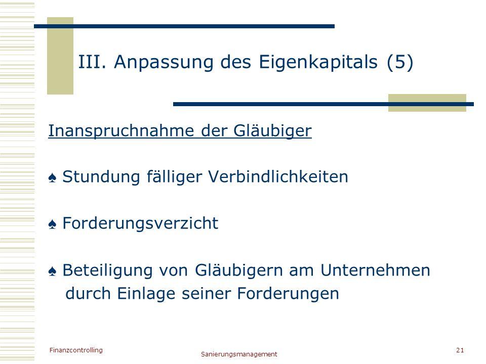 III. Anpassung des Eigenkapitals (5)