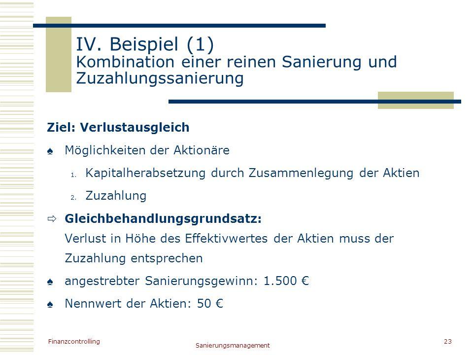IV. Beispiel (1) Kombination einer reinen Sanierung und Zuzahlungssanierung