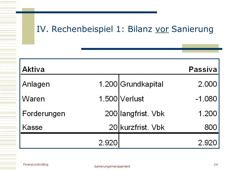 IV. Rechenbeispiel 1: Bilanz vor Sanierung