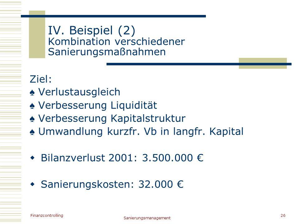 IV. Beispiel (2) Kombination verschiedener Sanierungsmaßnahmen