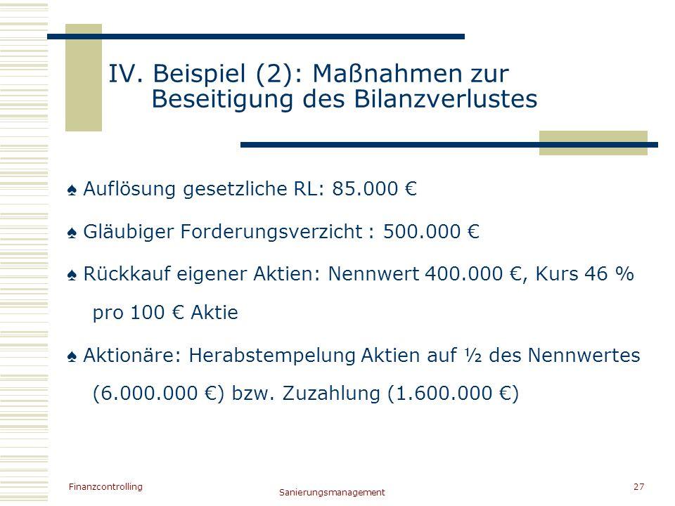 IV. Beispiel (2): Maßnahmen zur Beseitigung des Bilanzverlustes