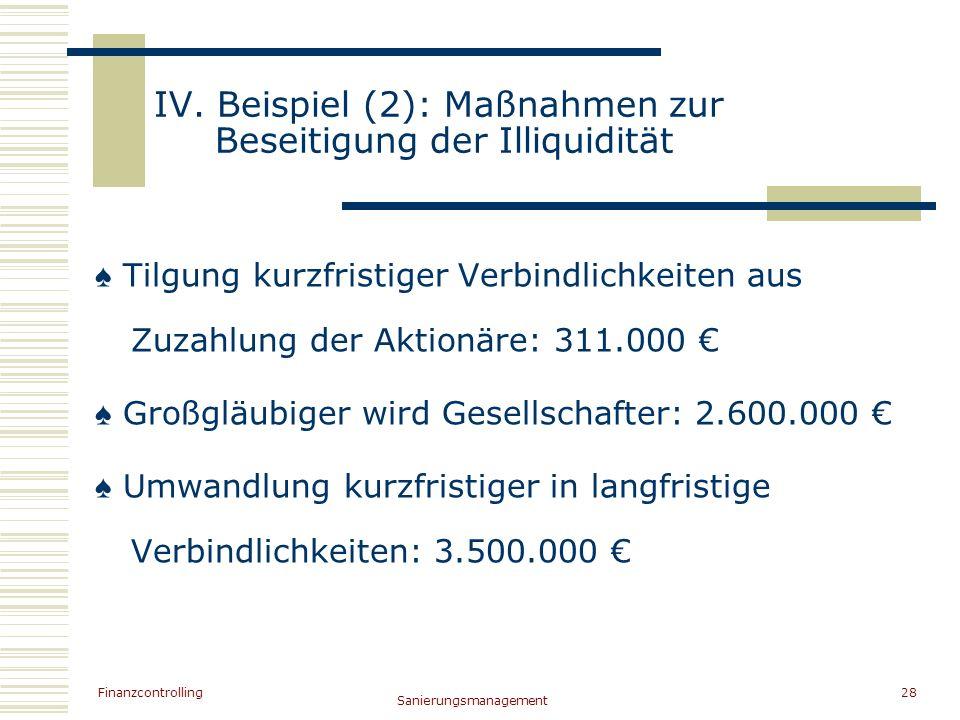 IV. Beispiel (2): Maßnahmen zur Beseitigung der Illiquidität