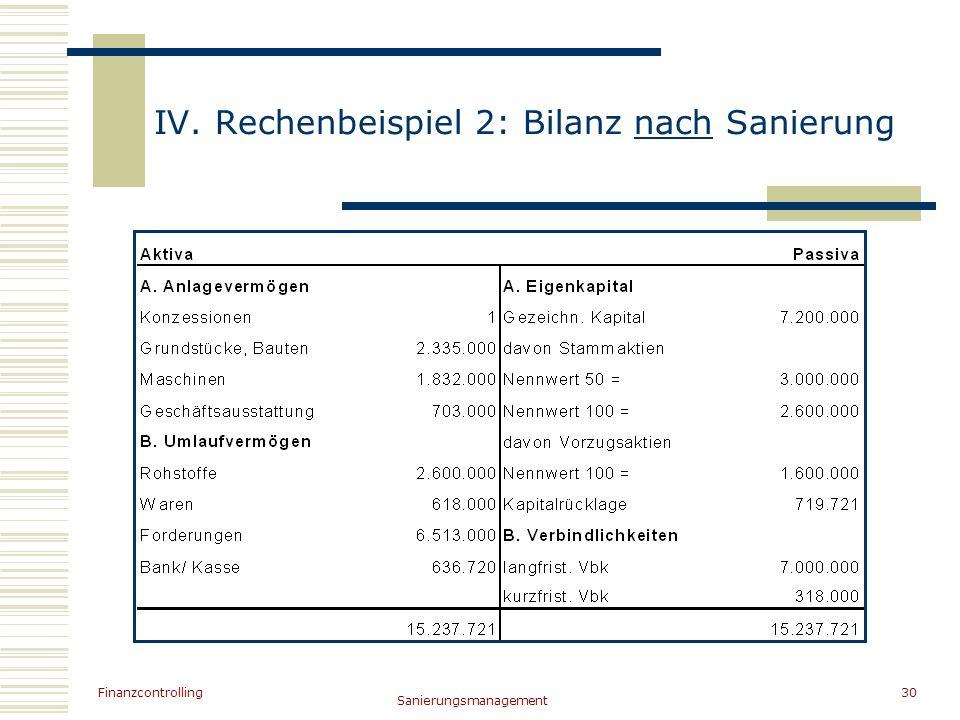 IV. Rechenbeispiel 2: Bilanz nach Sanierung