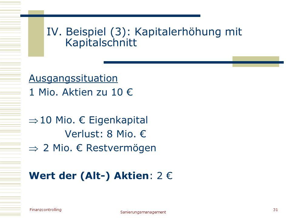 IV. Beispiel (3): Kapitalerhöhung mit Kapitalschnitt