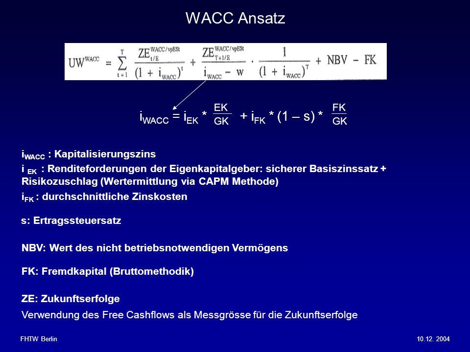 WACC Ansatz iWACC = iEK * + iFK * (1 – s) * EK GK FK GK