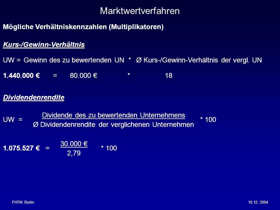 Marktwertverfahren Mögliche Verhältniskennzahlen (Multiplikatoren)