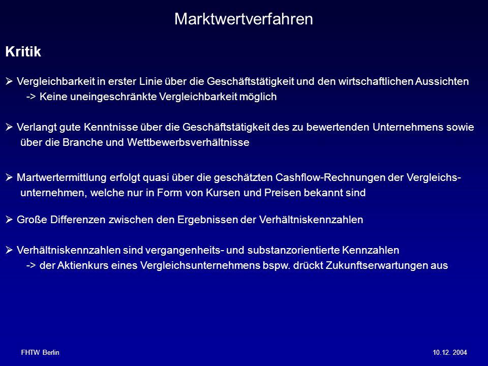 Marktwertverfahren Kritik