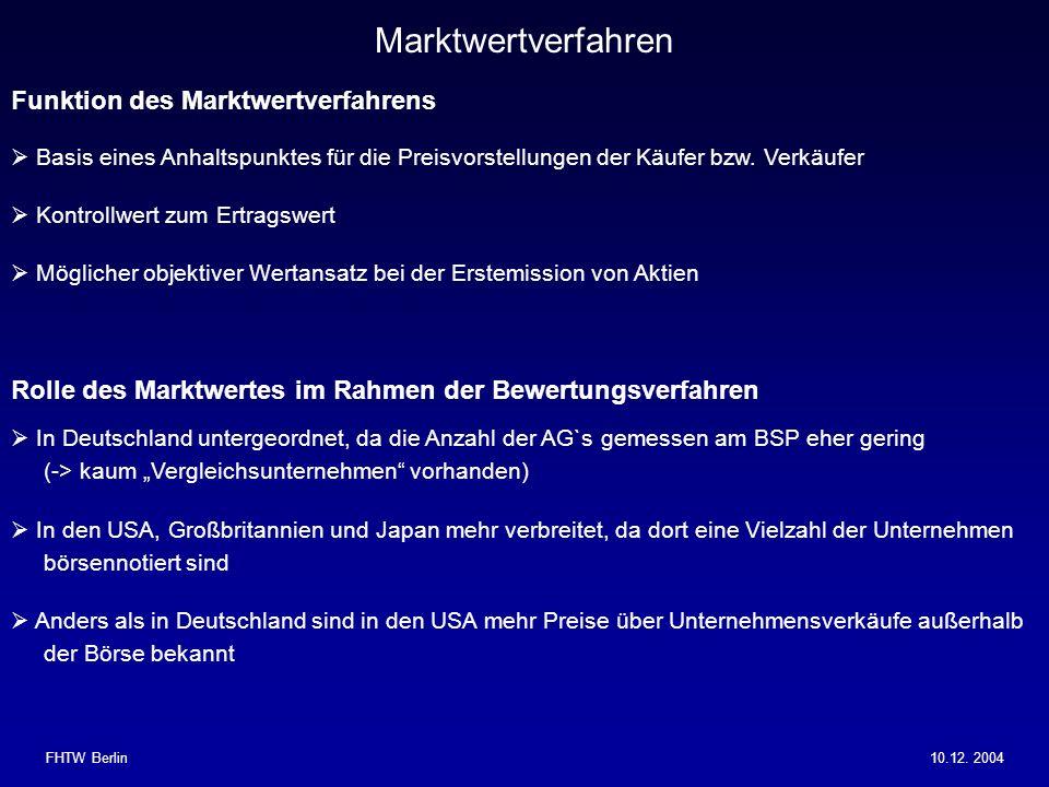 Marktwertverfahren Funktion des Marktwertverfahrens