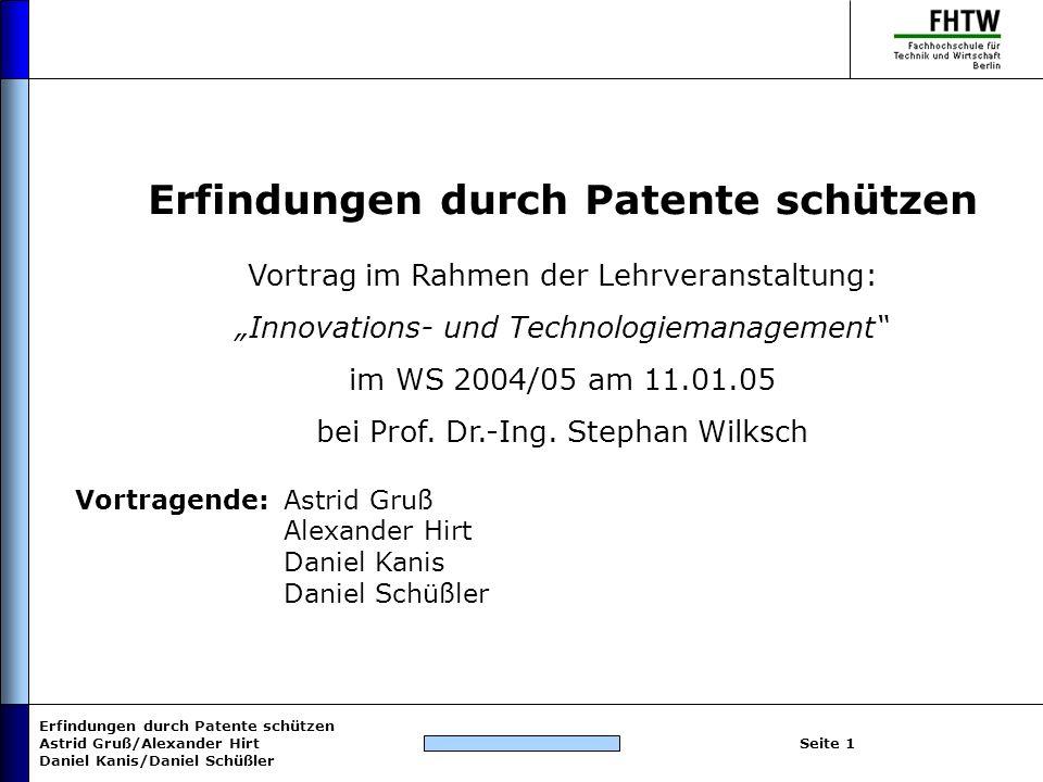 Erfindungen durch Patente schützen