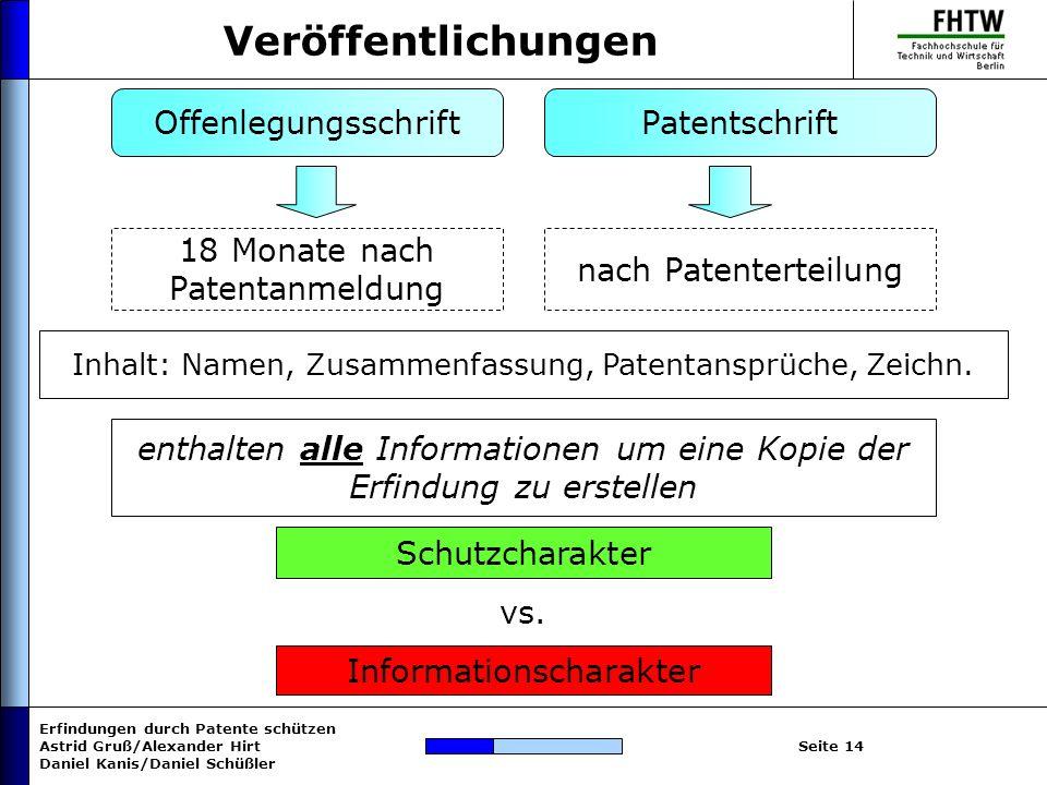 Veröffentlichungen Offenlegungsschrift Patentschrift