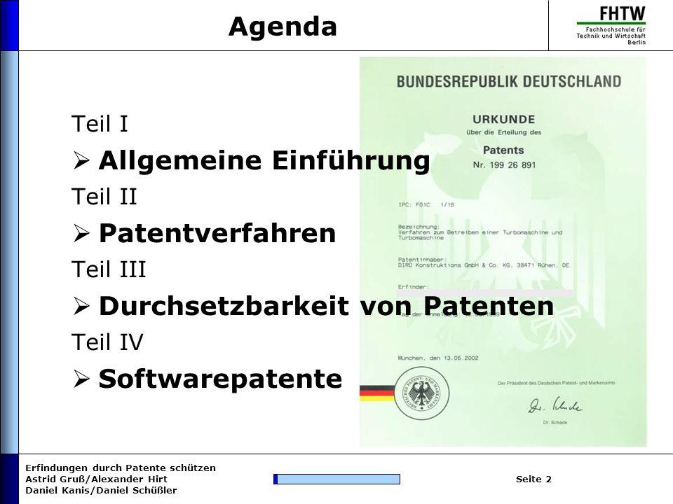 Allgemeine Einführung Patentverfahren Durchsetzbarkeit von Patenten