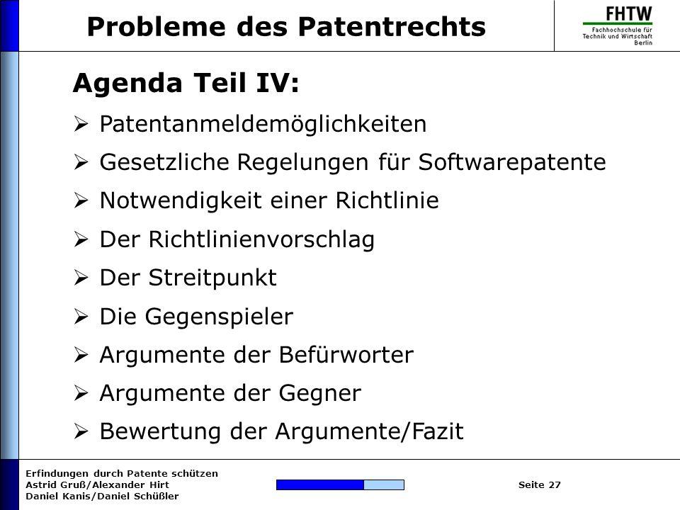 Probleme des Patentrechts