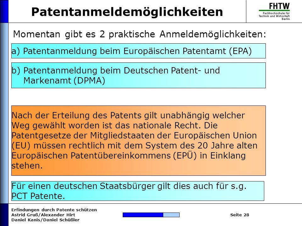 Patentanmeldemöglichkeiten