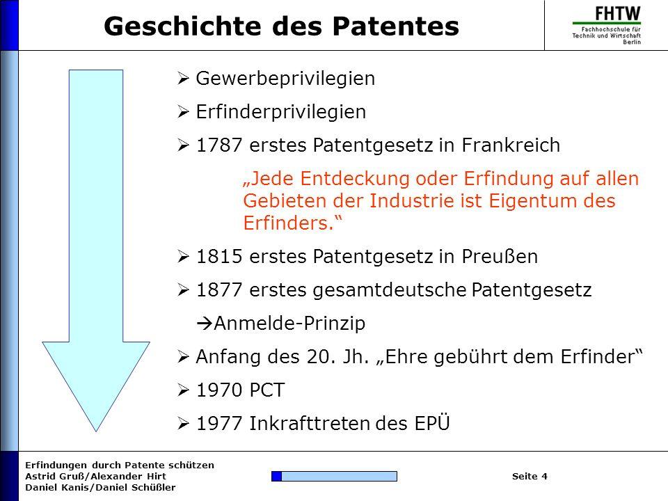 Geschichte des Patentes