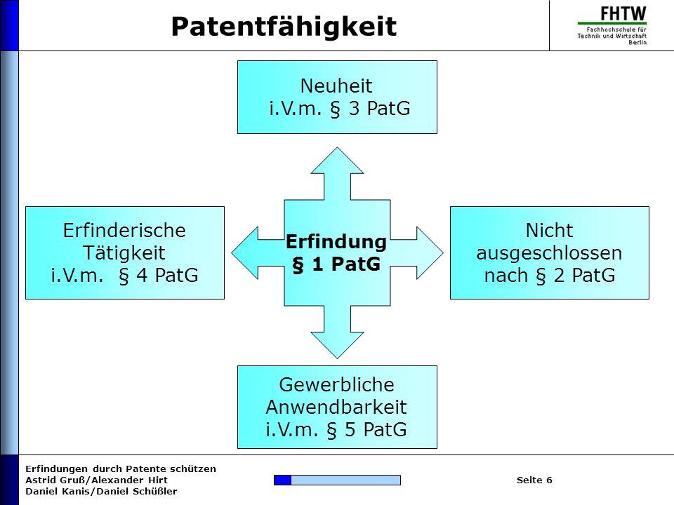 Patentfähigkeit Neuheit i.V.m. § 3 PatG Erfindung § 1 PatG