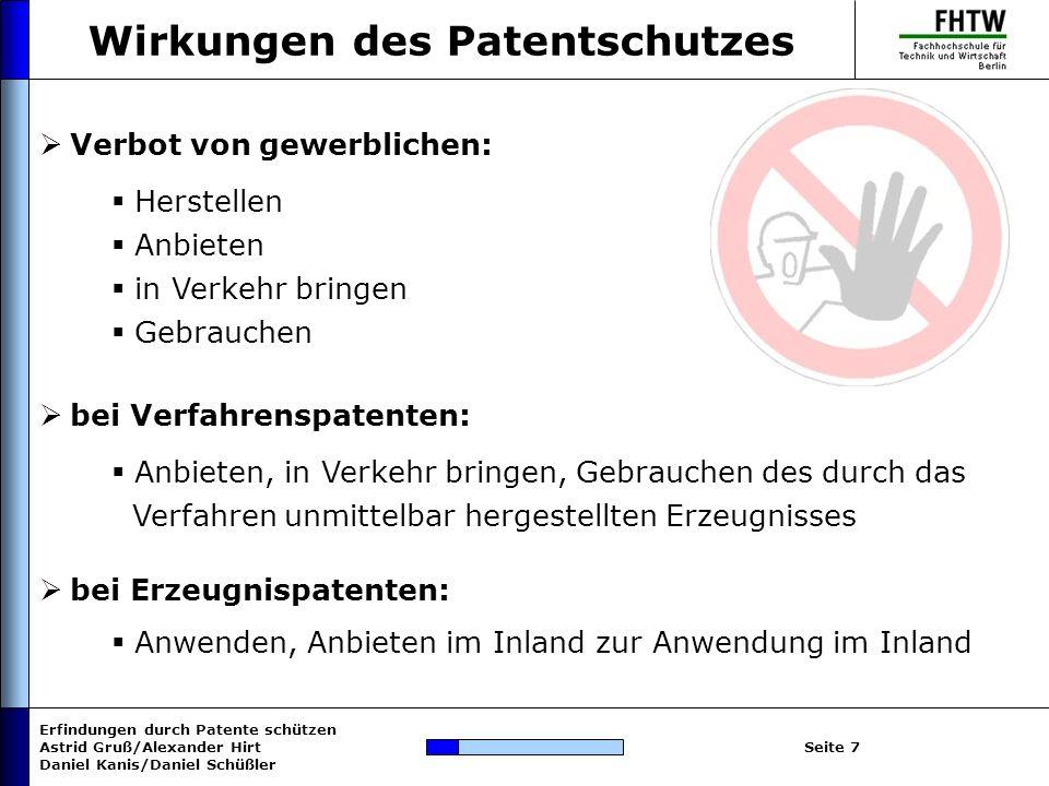 Wirkungen des Patentschutzes