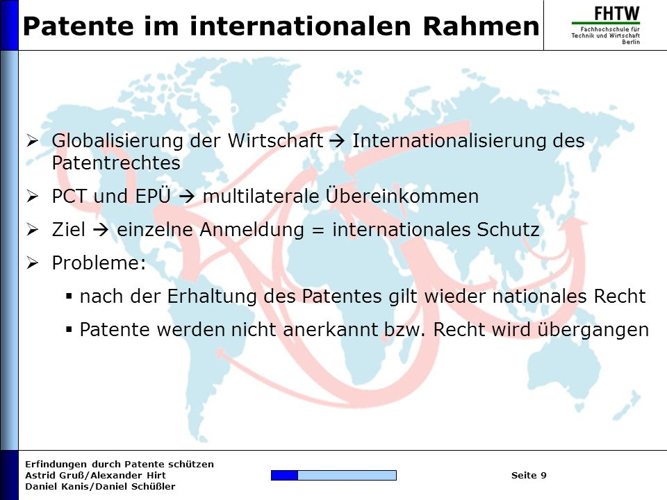 Patente im internationalen Rahmen