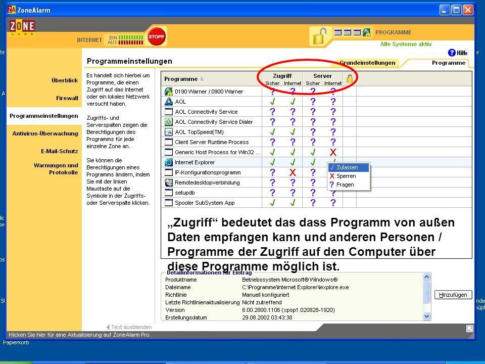 """""""Zugriff bedeutet das dass Programm von außen Daten empfangen kann und anderen Personen / Programme der Zugriff auf den Computer über diese Programme möglich ist."""