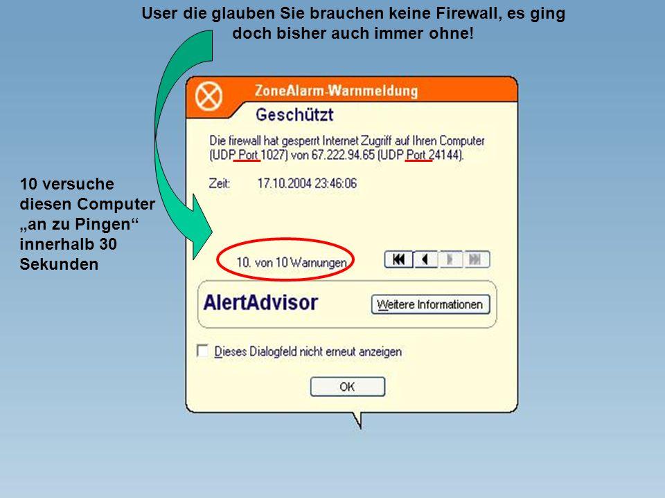 User die glauben Sie brauchen keine Firewall, es ging doch bisher auch immer ohne!