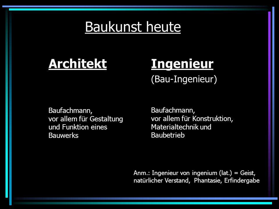 Baukunst heute Architekt Ingenieur (Bau-Ingenieur)