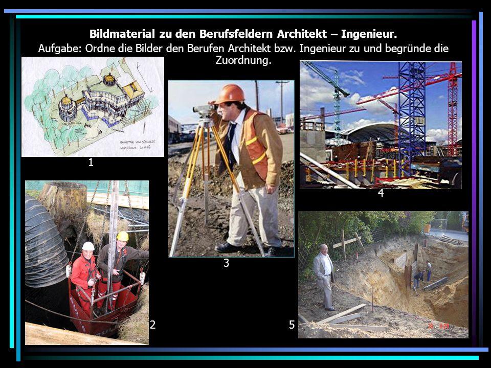 Bildmaterial zu den Berufsfeldern Architekt – Ingenieur.