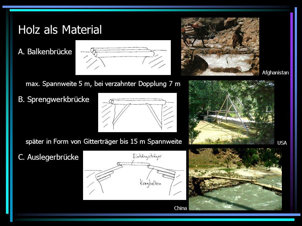 Holz als Material A. Balkenbrücke B. Sprengwerkbrücke