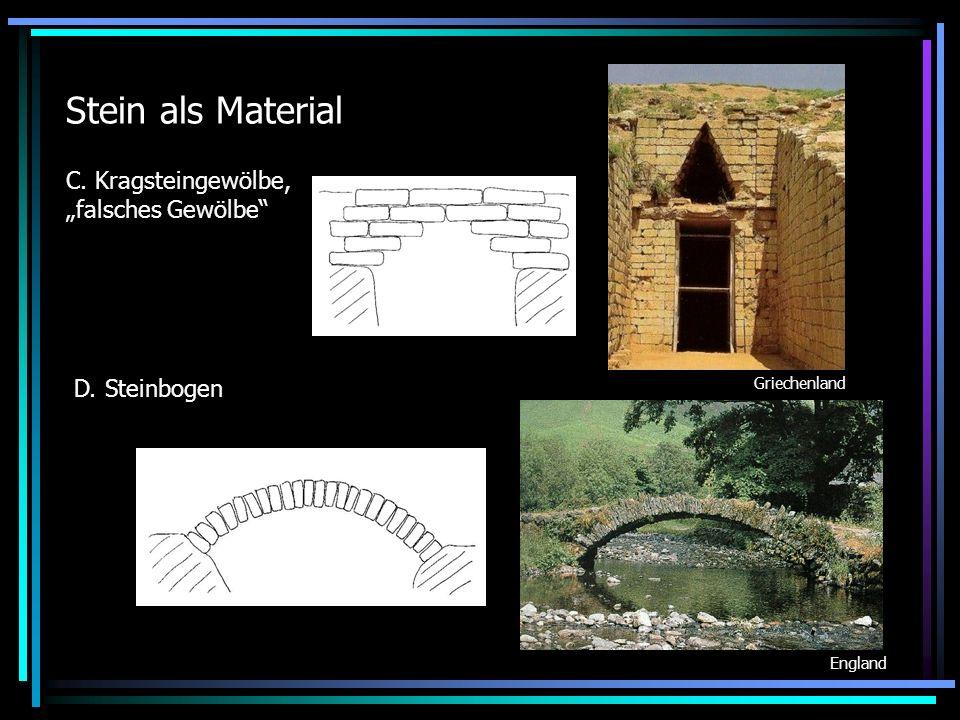 """Stein als Material C. Kragsteingewölbe, """"falsches Gewölbe"""