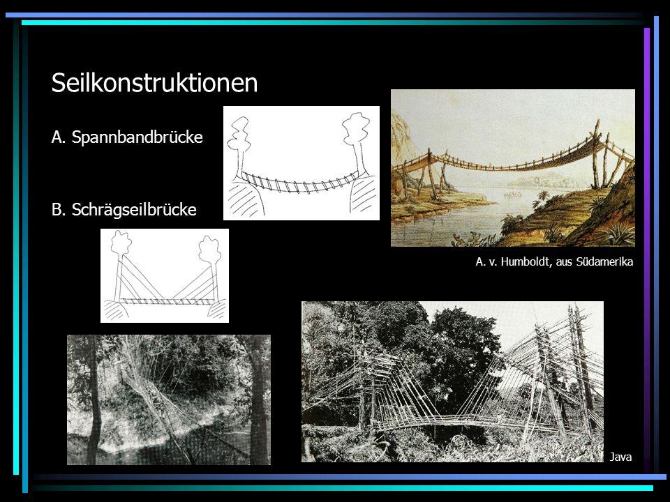 Seilkonstruktionen A. Spannbandbrücke B. Schrägseilbrücke