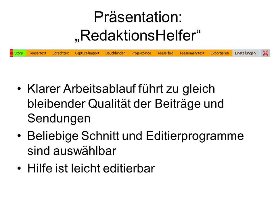 "Präsentation: ""RedaktionsHelfer"