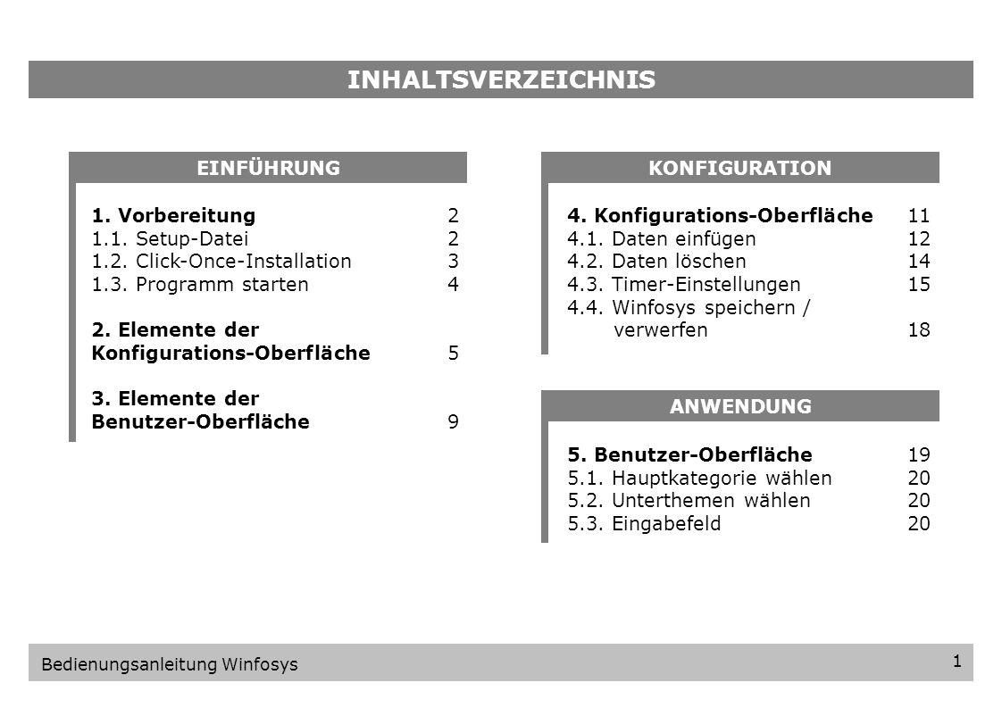 INHALTSVERZEICHNIS EINFÜHRUNG KONFIGURATION 1. Vorbereitung