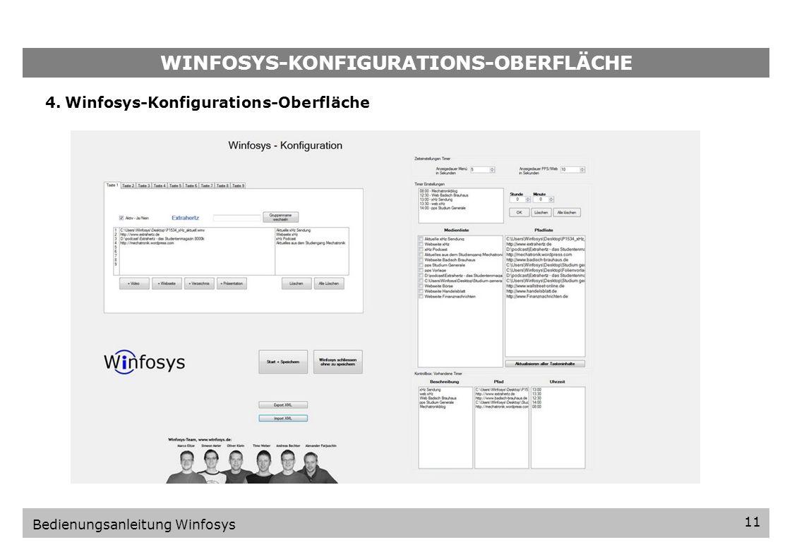 WINFOSYS-KONFIGURATIONS-OBERFLÄCHE
