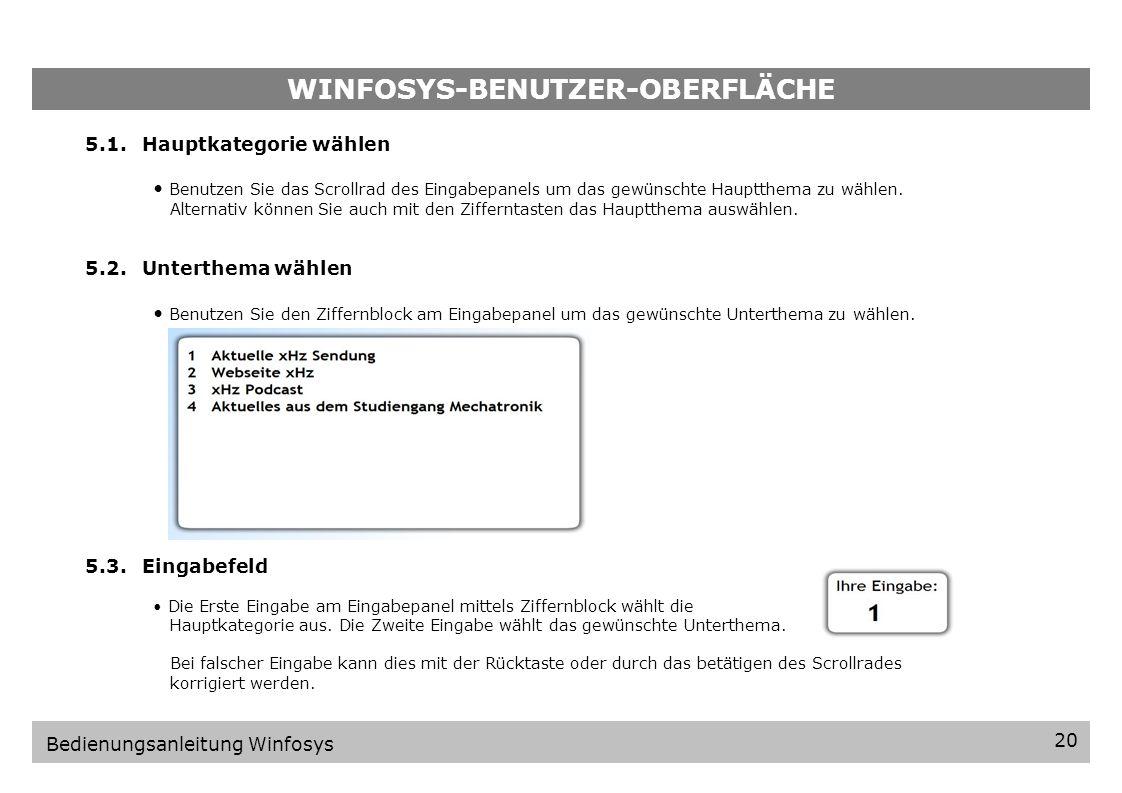WINFOSYS-BENUTZER-OBERFLÄCHE