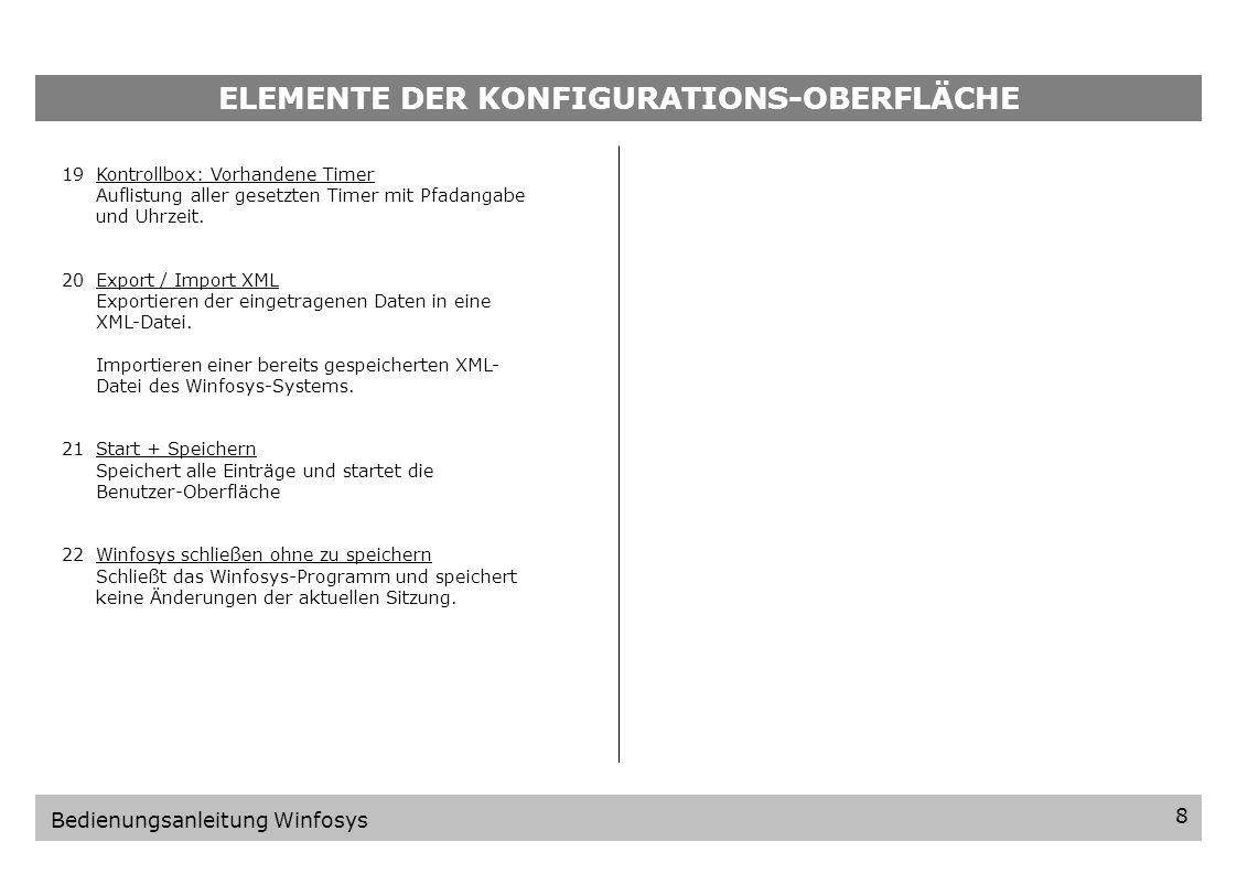 ELEMENTE DER KONFIGURATIONS-OBERFLÄCHE