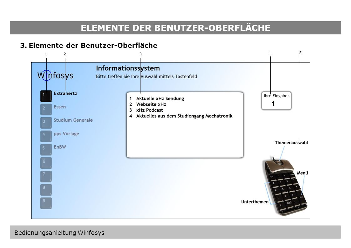 ELEMENTE DER BENUTZER-OBERFLÄCHE