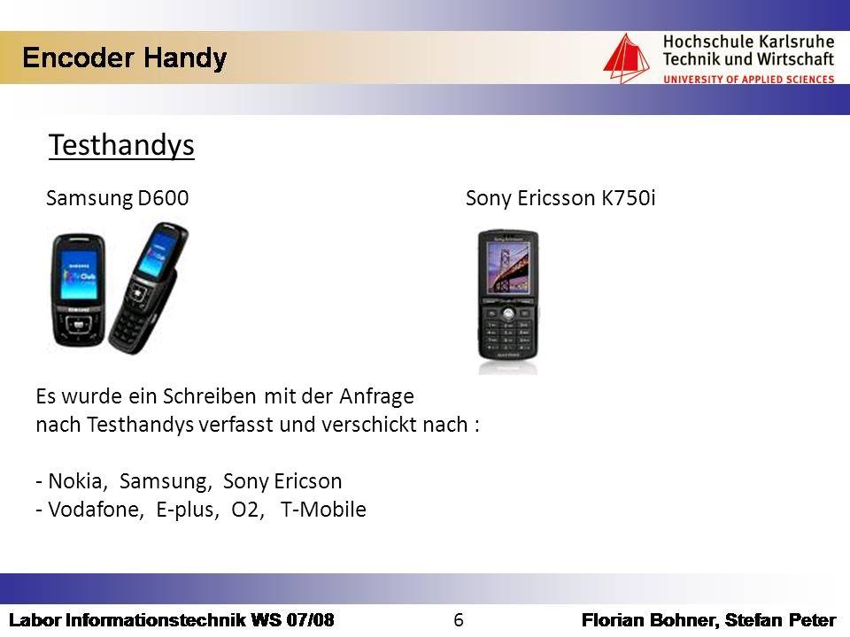 Testhandys Samsung D600 Sony Ericsson K750i