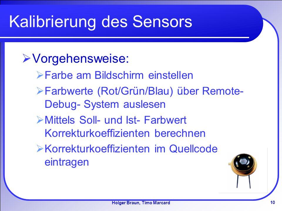 Kalibrierung des Sensors