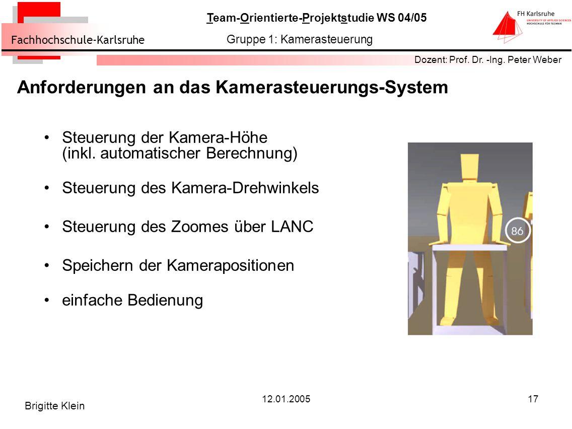 Anforderungen an das Kamerasteuerungs-System