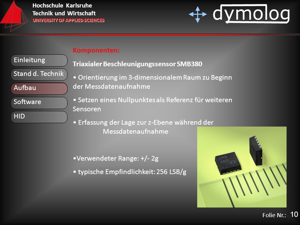 Komponenten: Triaxialer Beschleunigungssensor SMB380. Orientierung im 3-dimensionalem Raum zu Beginn der Messdatenaufnahme.