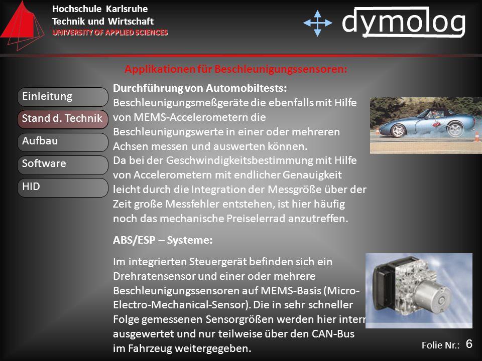 Applikationen für Beschleunigungssensoren: