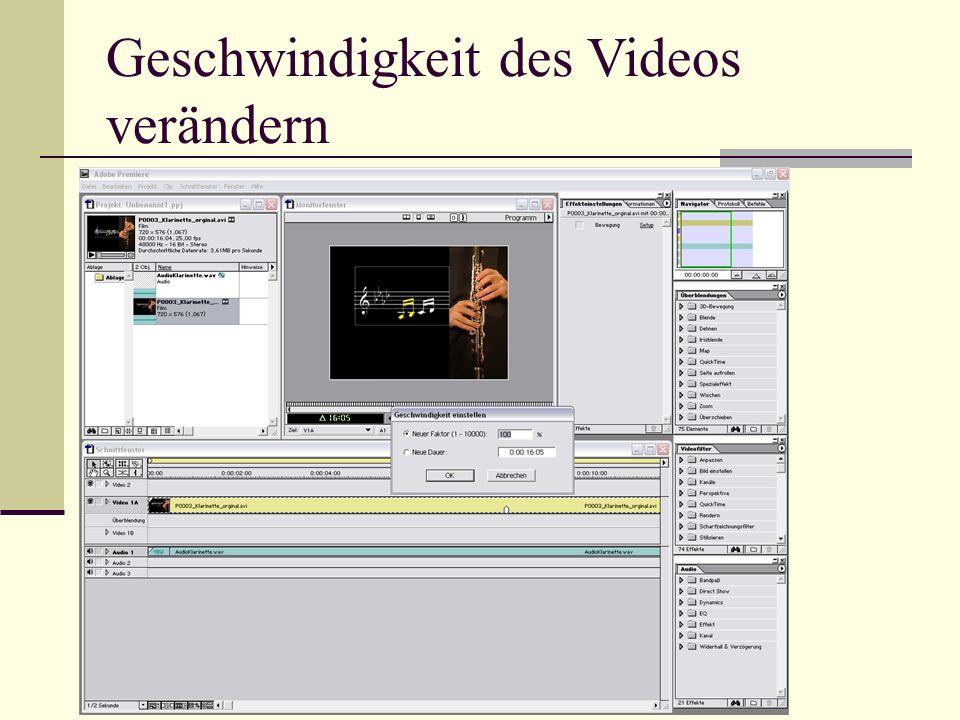 Geschwindigkeit des Videos verändern