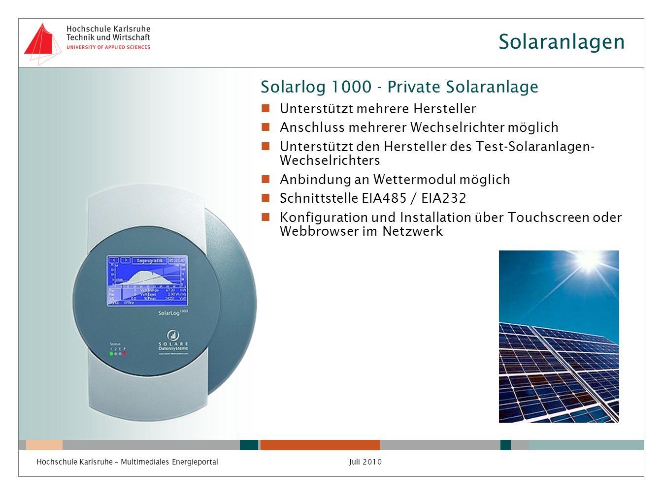 Solaranlagen Solarlog 1000 - Private Solaranlage
