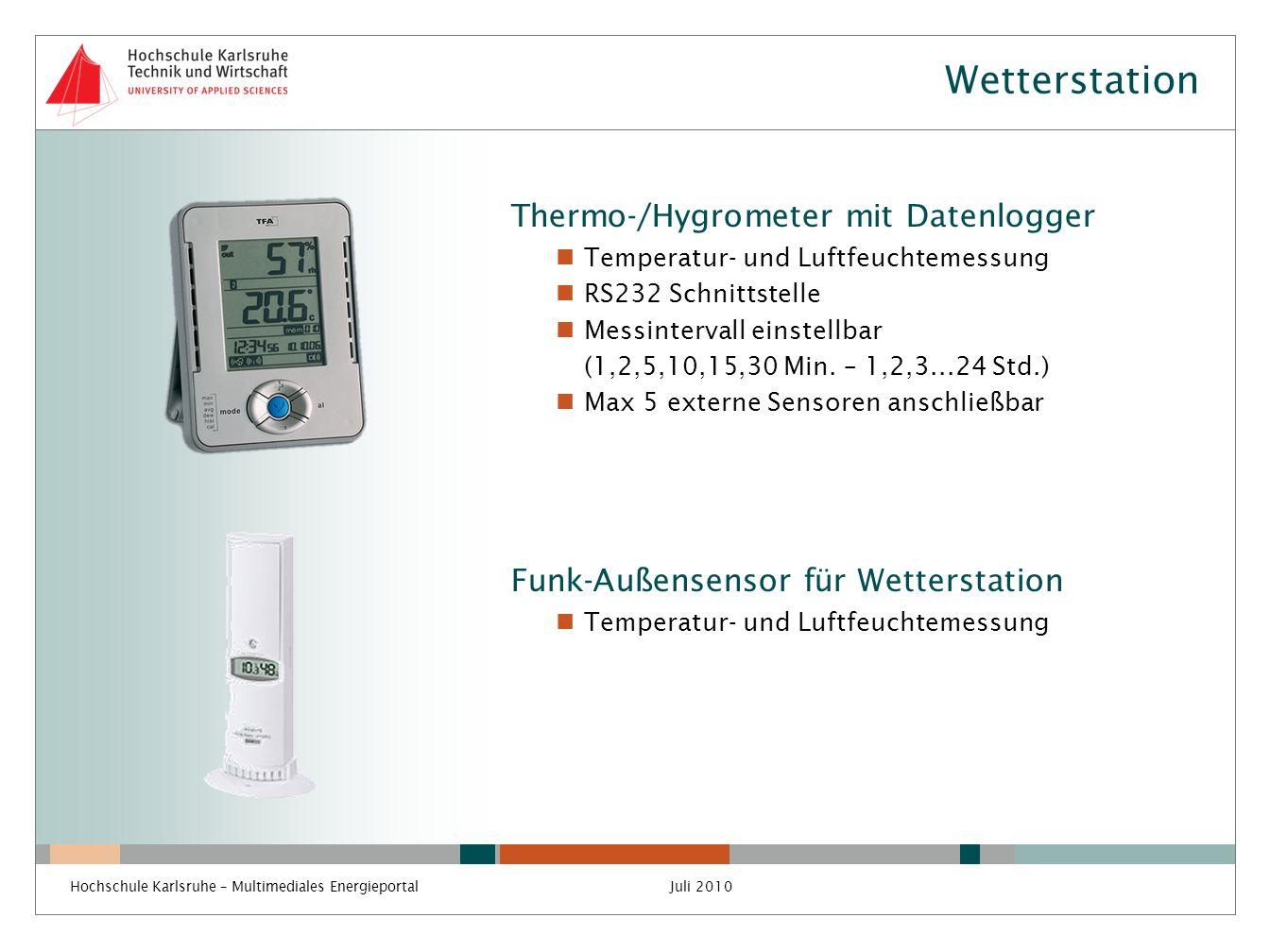Wetterstation Thermo-/Hygrometer mit Datenlogger