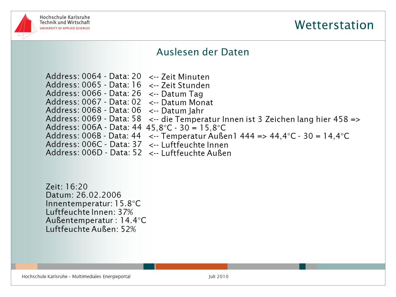 Wetterstation Auslesen der Daten