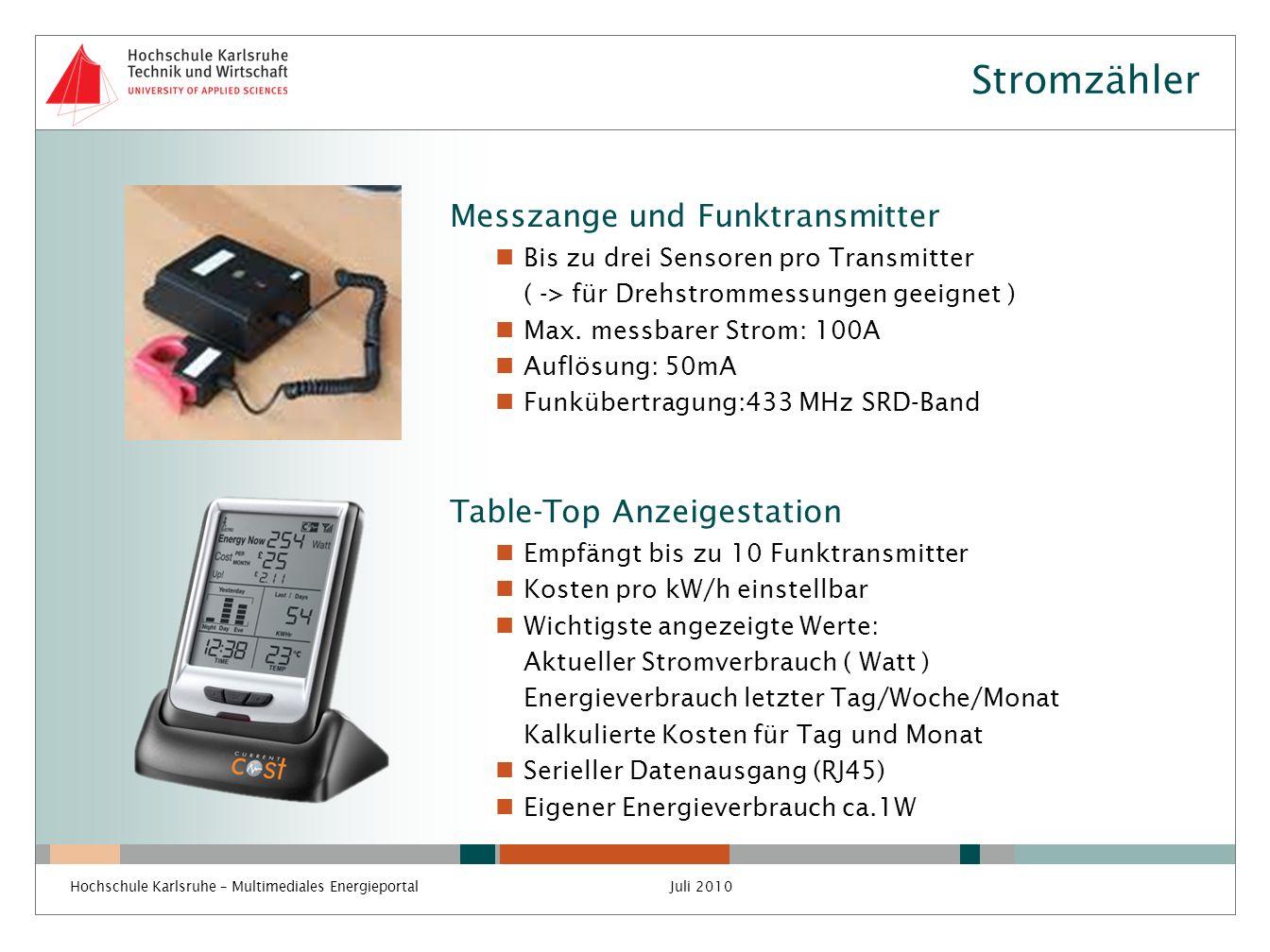Stromzähler Messzange und Funktransmitter Table-Top Anzeigestation