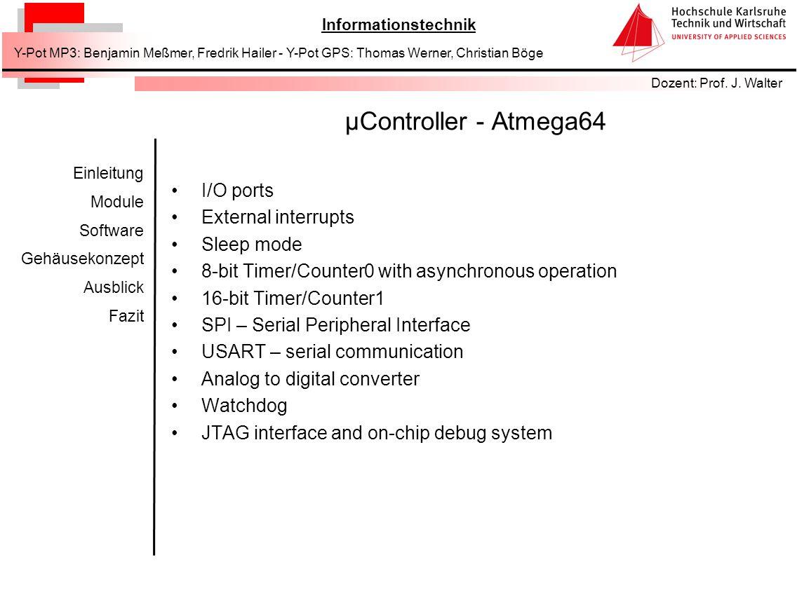 µController - Atmega64 I/O ports External interrupts Sleep mode