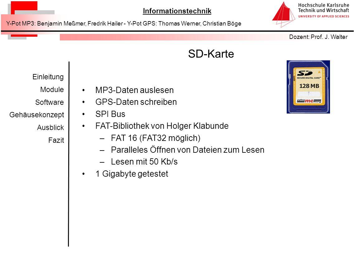 SD-Karte MP3-Daten auslesen GPS-Daten schreiben SPI Bus