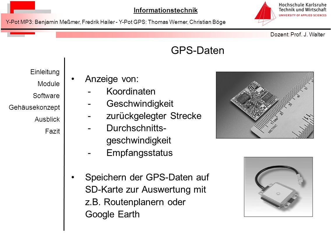 GPS-Daten Anzeige von: Koordinaten Geschwindigkeit