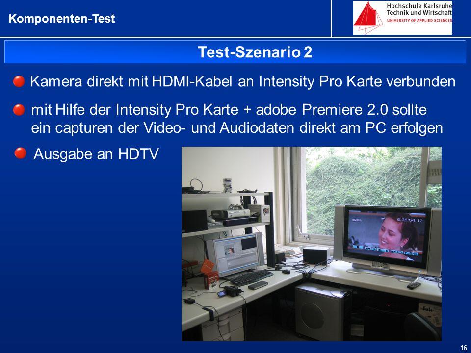 Komponenten-Test Test-Szenario 2. Kamera direkt mit HDMI-Kabel an Intensity Pro Karte verbunden.